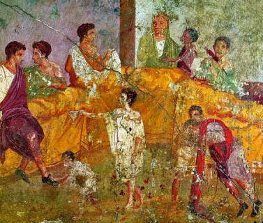 Fresco van banket uit Pompeii