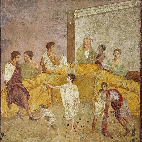 Banketscène uit Pompeii