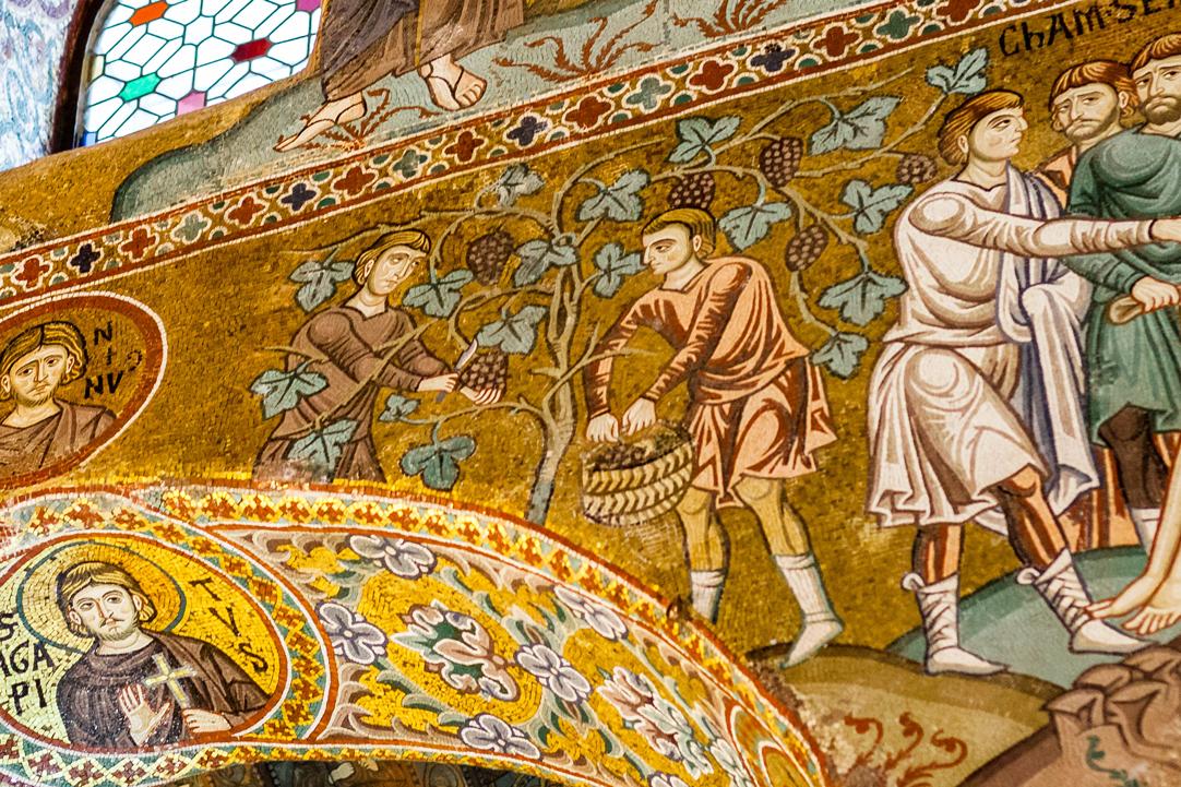 Druivenpluk in de Cappella Palatina in Palermo