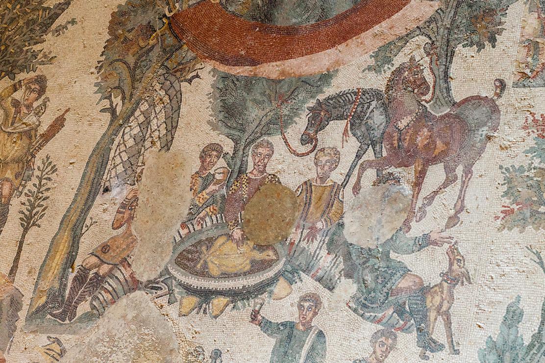 Mozaiek van een jachtpartij in de Romeinse Villa del Casale