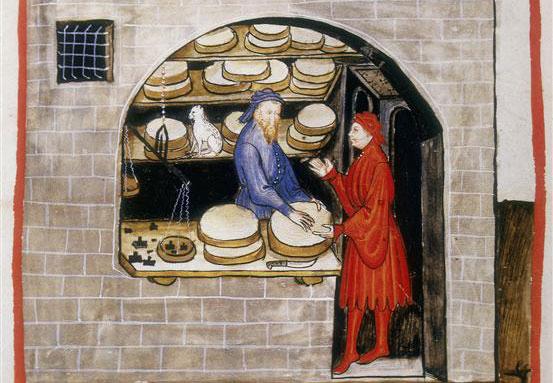 Verkoper van Parmezaanse kaas in Tacuinum Sanitatis