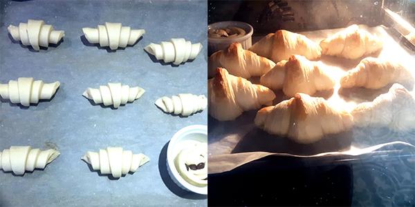Croissants rijzen & bakken