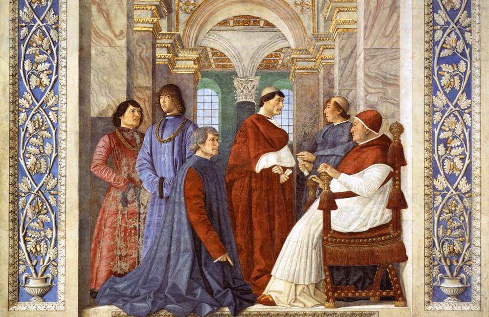 Fresco van Platina in Vaticaanse bibliotheek door Melozzo da Forlì