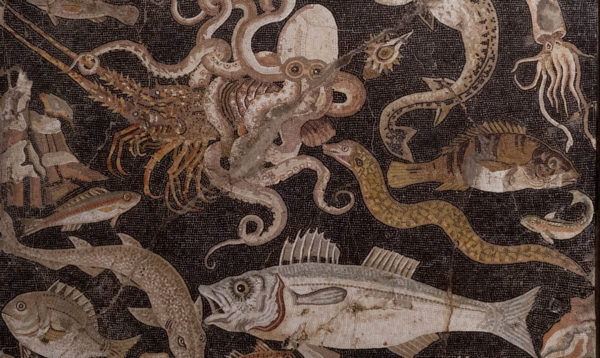 Vismozaiek in Nationaal Archeologisch Museum Napels