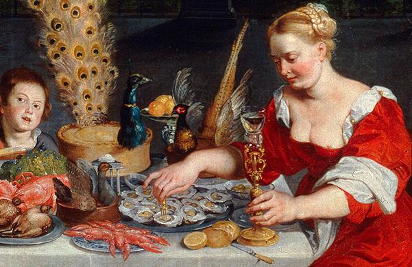 Fazantpastei op 'Smaak, Gehoor en Tast' van Breugel uit ca 1620 in Museo del Prado