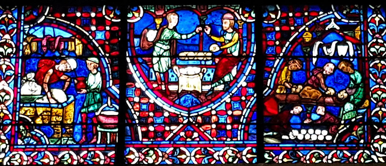 Brood bakken: glas-in-loodramen kathedraal Chartres