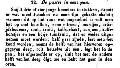 Tekst voor hoenderpastei in De Geldersche keukenmeid
