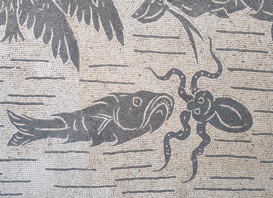 Vloermozaiek met octopus en vis in Palazzo Massimo alle Terme