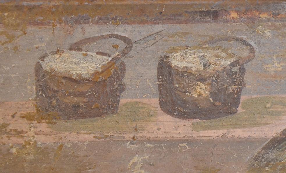 Mandjes met kaas uit de Villa Adriana in Stabia. Nationaal Archeologisch Museum Napels