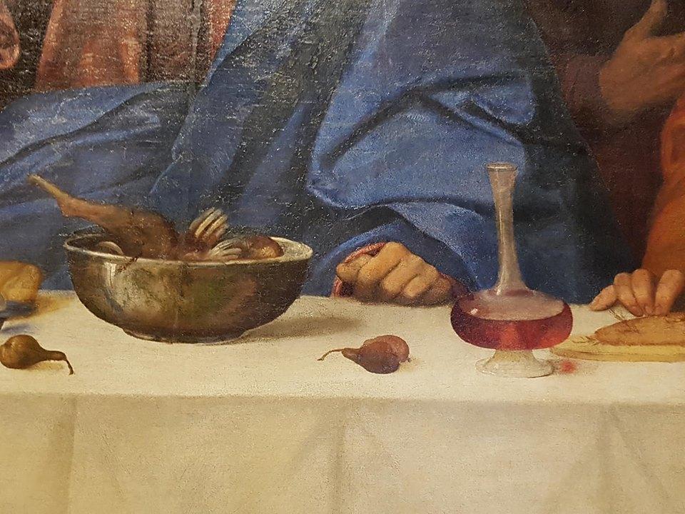 Detail Laatste Avondmaal door Girolamo di Romano, Ferrara