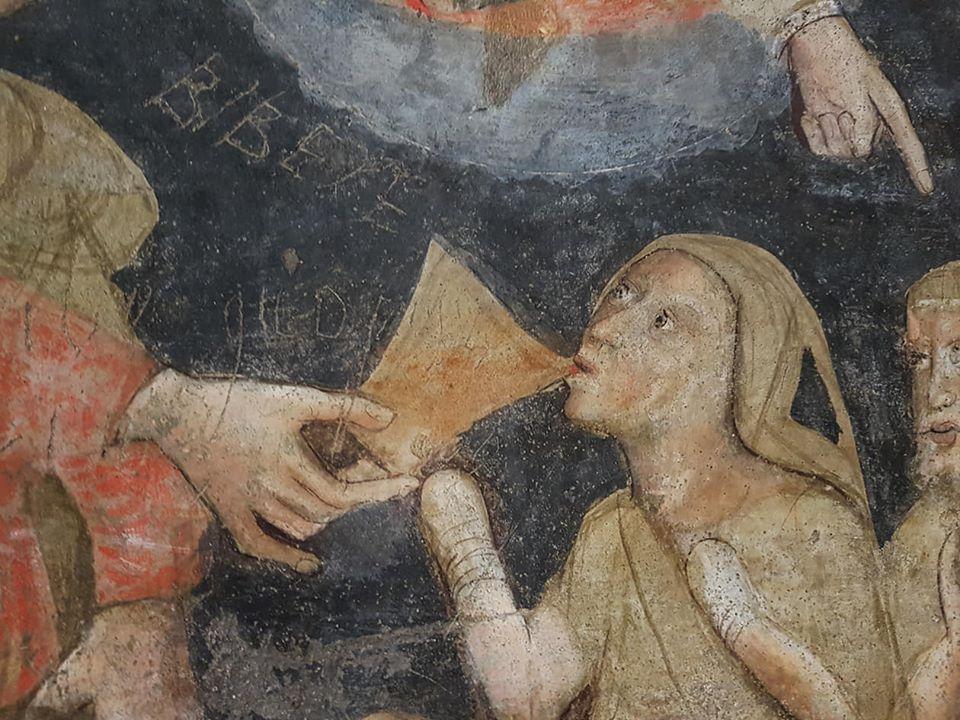 Fresco in Baptisterium Parma, 14e eeuw