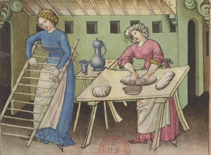 Het maken van pasta uit de tacuinum sanitatis, 14e eeuw