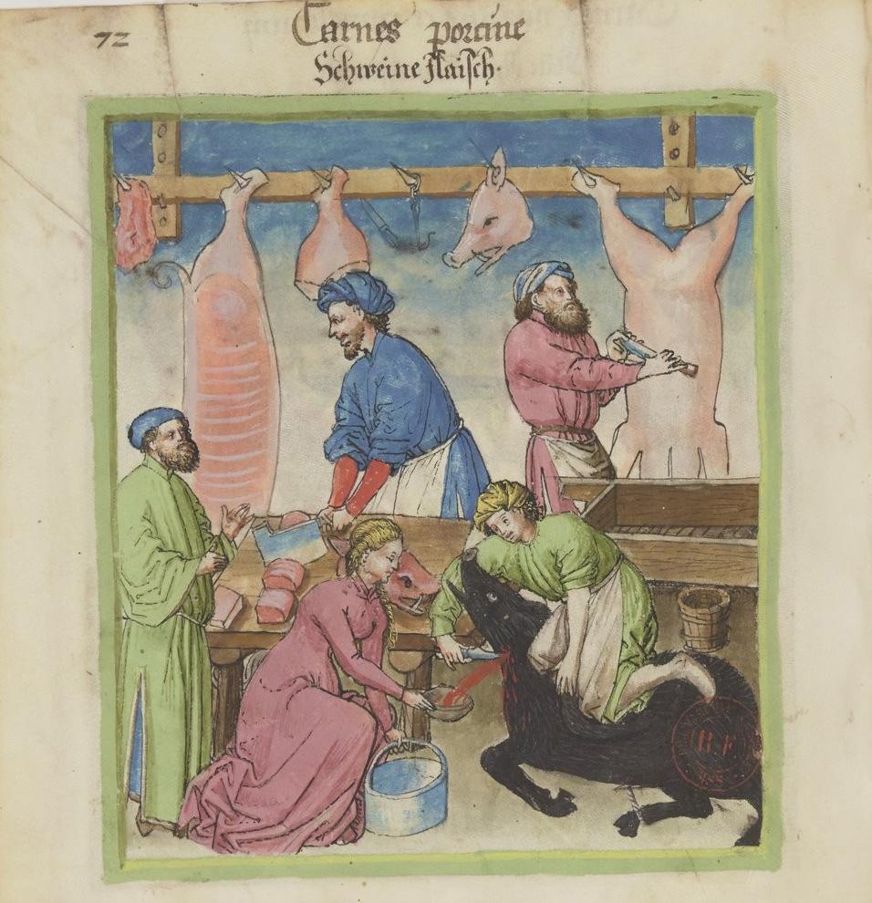 Slager uit de Tacuinum sanitatis (14e eeuw)