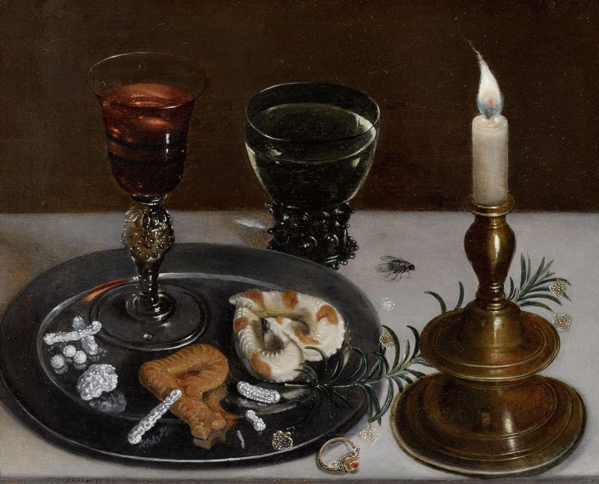 Clara Peeters, Stilleven met letterkoekjes, 1607, RKD