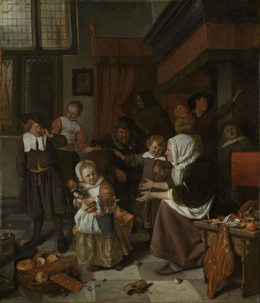 Het Nicolaasfeest door Jan Steen 1663, Rijksmuseum Amsterdam