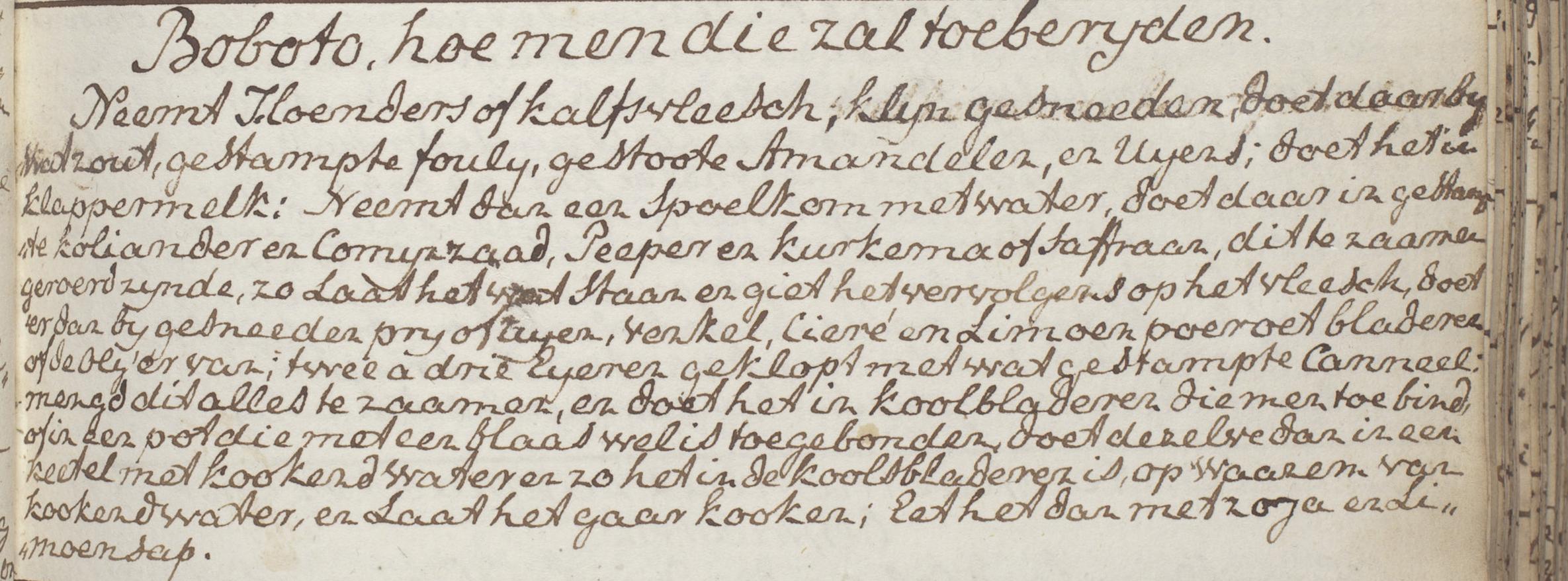 Recept voor Bobote uit een anoniem Kookschrift, ca. 1780. Koninklijke Bibliotheek