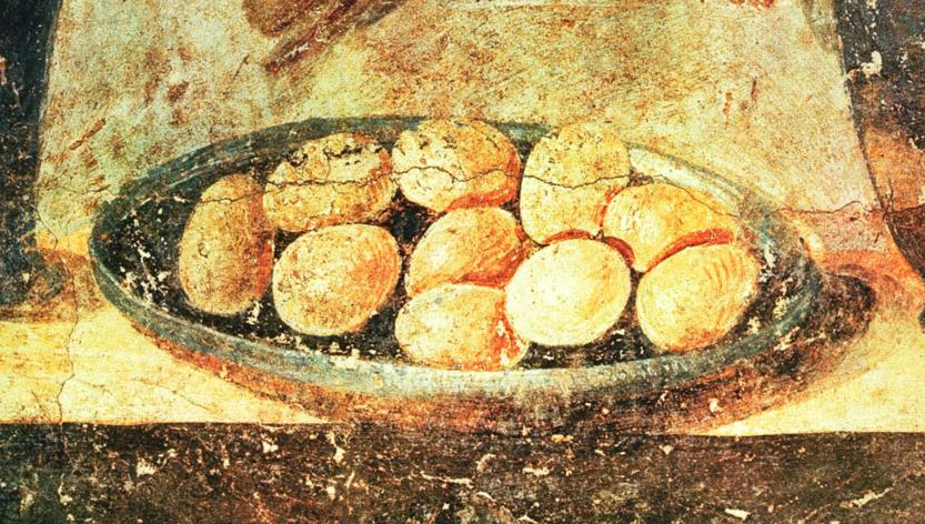 Fresco met Romeinse eieren uit Pompei Huis van Julia Felix