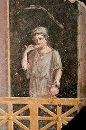 Jonge vrouw met kruik. Fresco in Getty Museum Villa