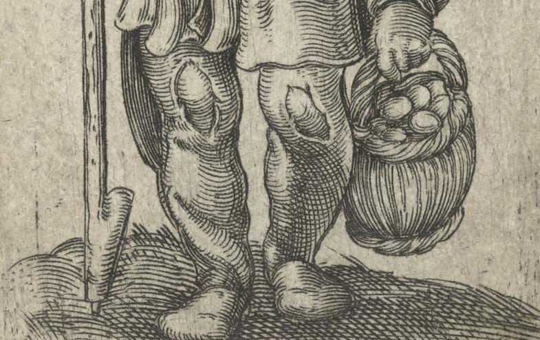 Boer met een mand met eieren van Jacob Binck, 16e eeuw, Rijksmuseum