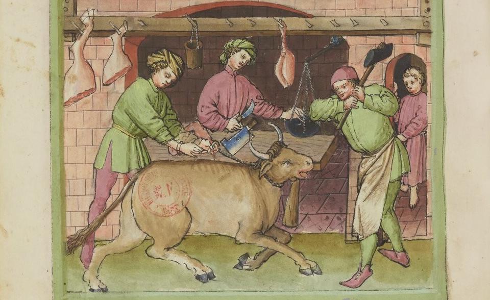 Slacht van rund uit Tacuinum sanitatis (14e eeuw)