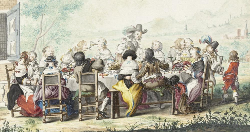Vrolijk gezelschap in de buitenlucht, Gesina ter Borch (1658)