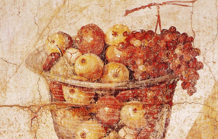 Romein fresco, mand met appels, Pompeii