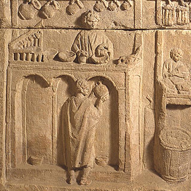 Beeldhouwwerk van Romeinse wijnwinkel, Musée archéologique Dijon