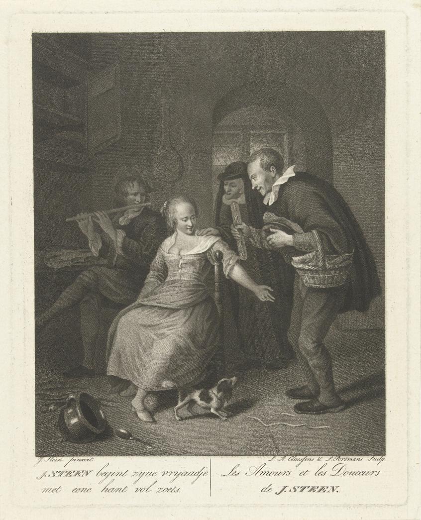 Lambertus Antonius Claessens, Jonge man biedt meisje een koek aan (ca1800)