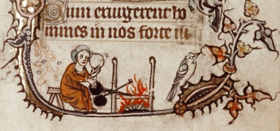 Wafels bakken, Psalter uit Gent, Bodleian Library MS Douce 6, 1320-1330