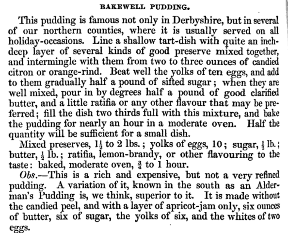 Bakewell pudding, Eliza Acton