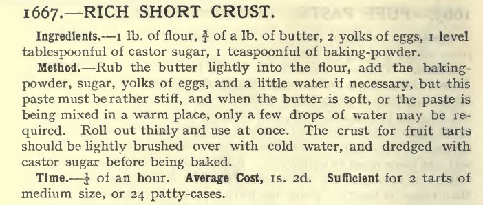 short crust 1667, Mrs Beeton