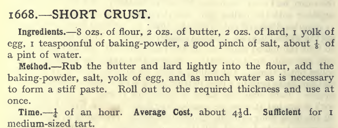 short crust 1668, Mrs Beeton