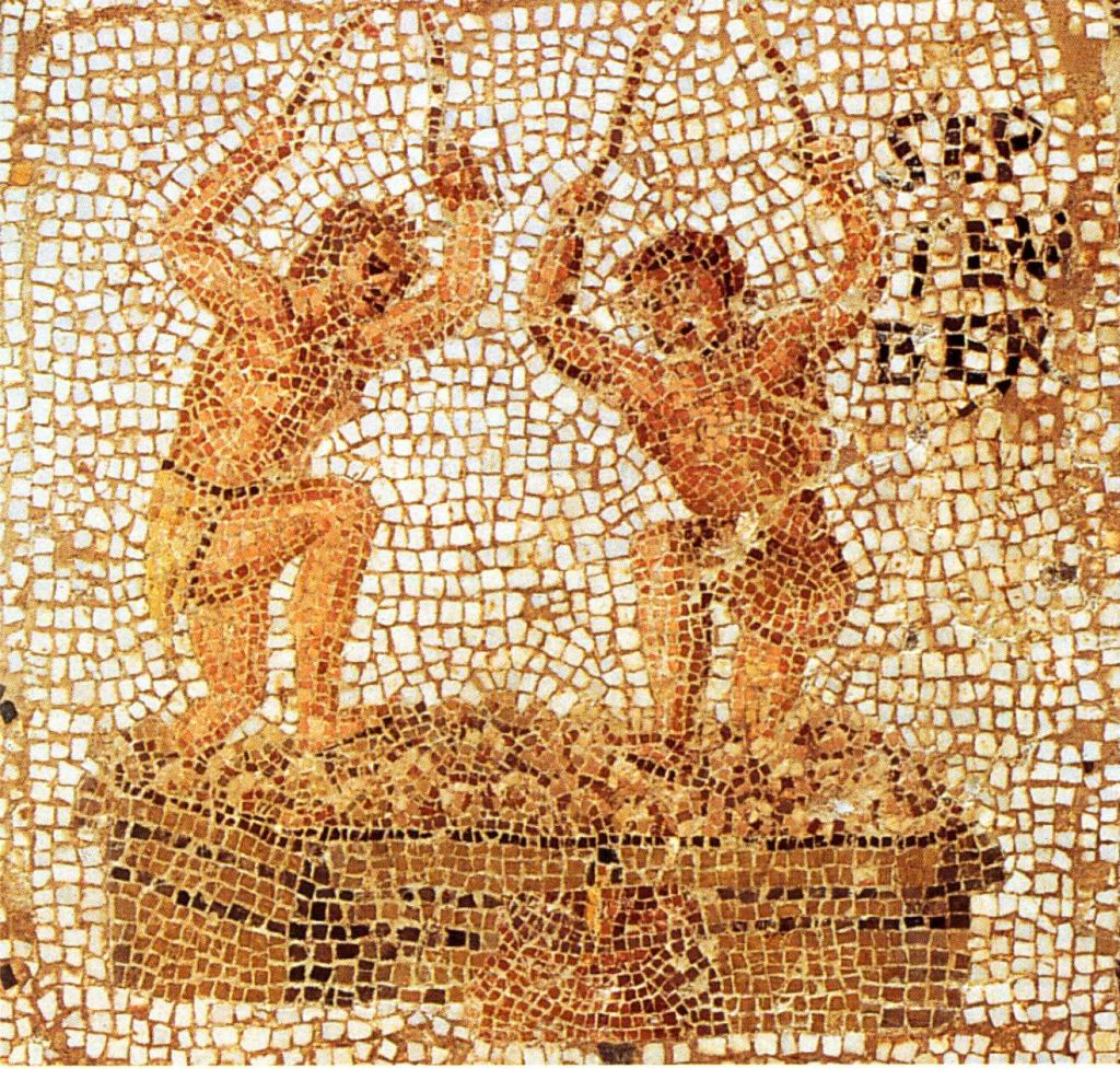 Fresco Romeinse wijnproductie