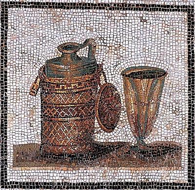 Mozaïek met wijnkaraf en wijnbeker uit de Romeinse tijd