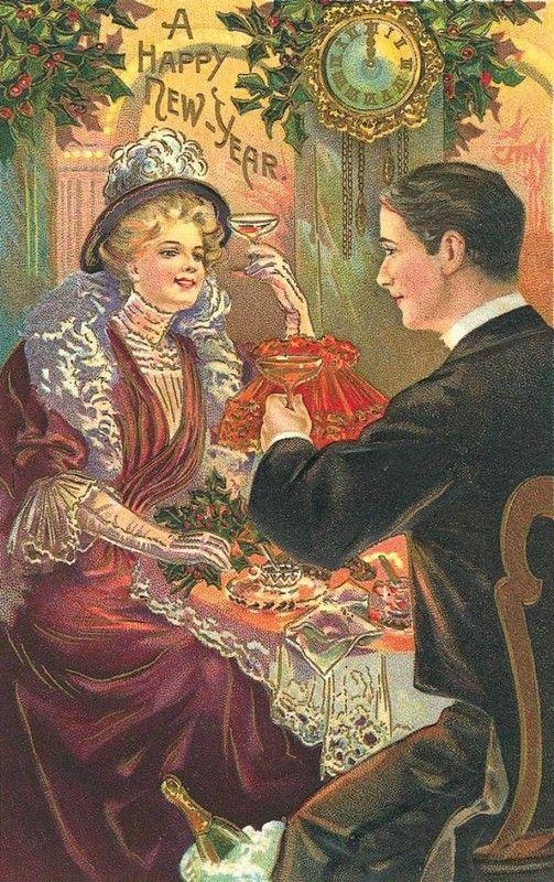 Nieuwjaarkaart met champagnetoast