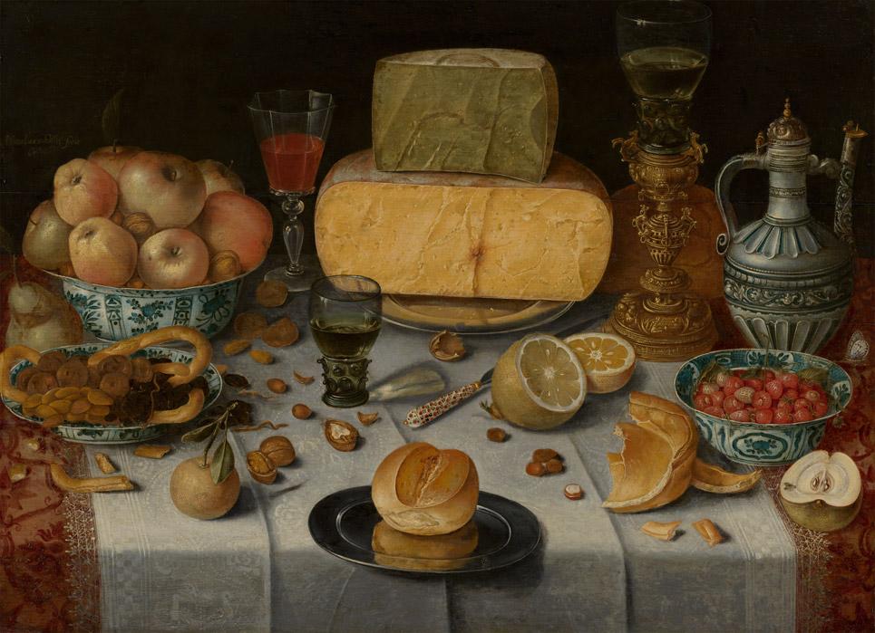 Gedekte tafel met kazen, Nicolaes Gillis, 1612, privécollectie