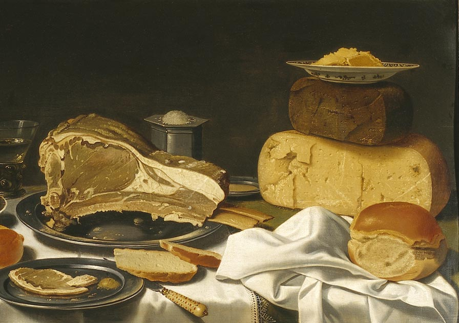 Stilleven met appels, gebraden vlees en kazen, Floris van Schooten, 1600-60