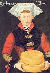 Vrouw met kazen uit Hoogwoud, J. Horst, ca 1570