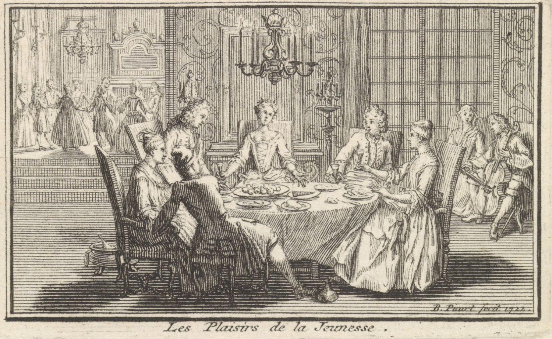 Elegant gezelschap rond een tafel, Bernard Picart, 1722, Rijksmuseum