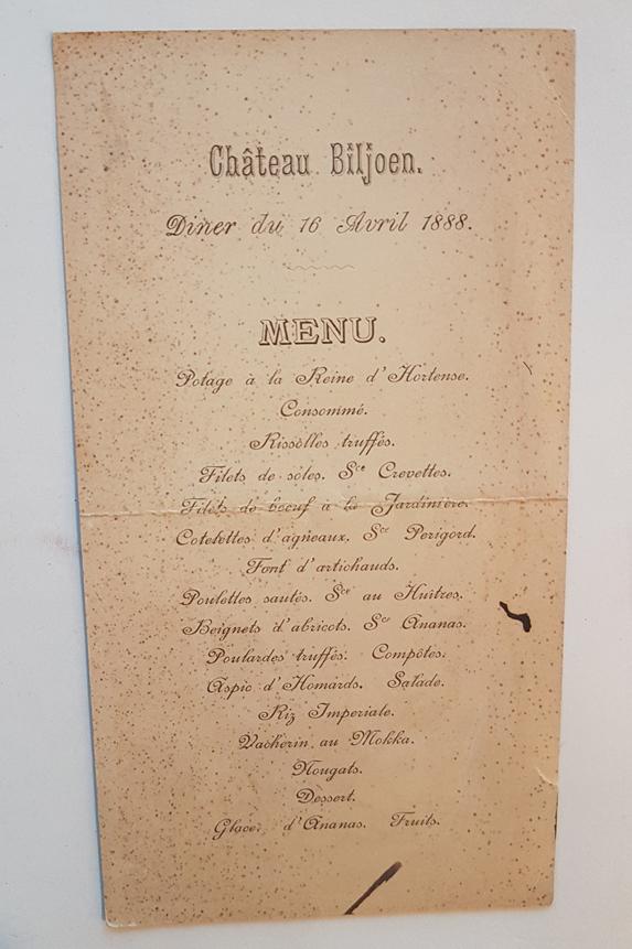 Menukaart Kasteel Biljoen uit Collectie Geldersch Landschap & Kasteelen