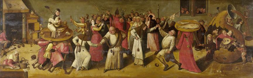 Mager en Vet. Strijd tussen carnaval en vasten, naar Jeroen Bosch, 1600-1620, Rijksmuseum