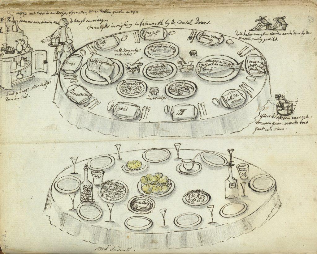 Tafelschikking en maaltijd tijdens diner te Falmouth, Jan Brandes, 1778, Rijksmuseum