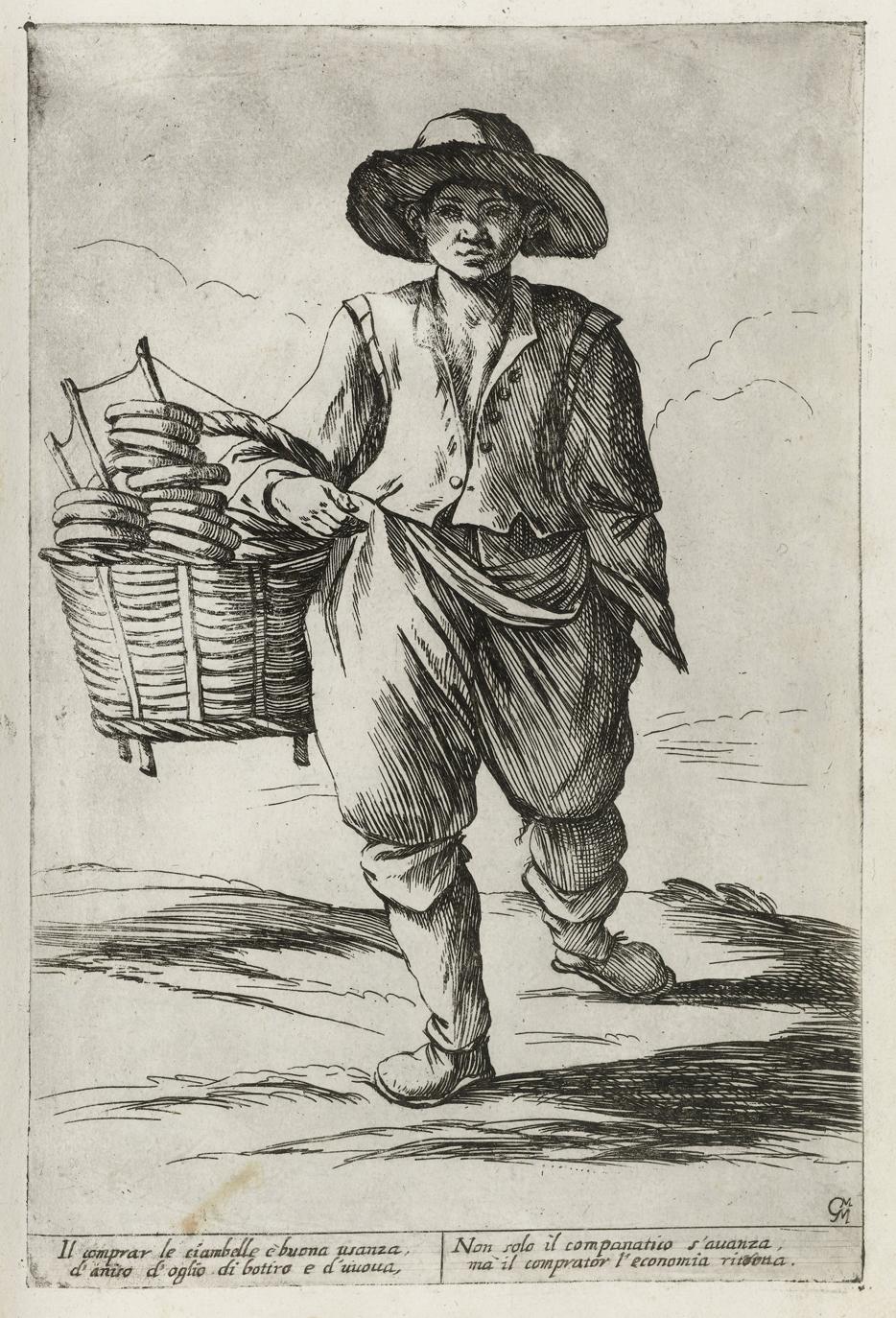 Ciambelle verkoper, Giuseppe Mitelli naar Annibale Carracci, 1660, Rijksmuseum