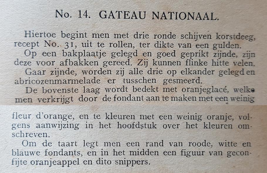 Gateau Nationaal, 1918