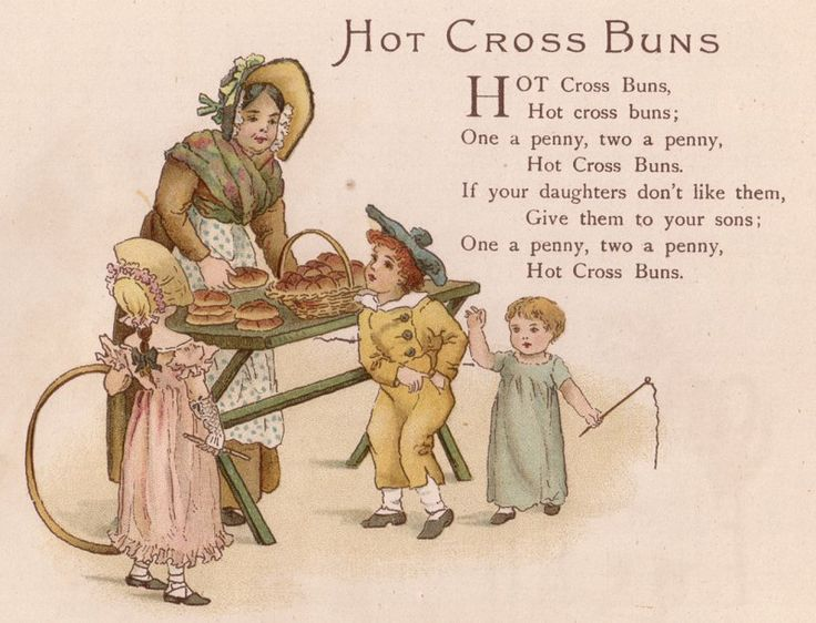 Hot cross buns postcard