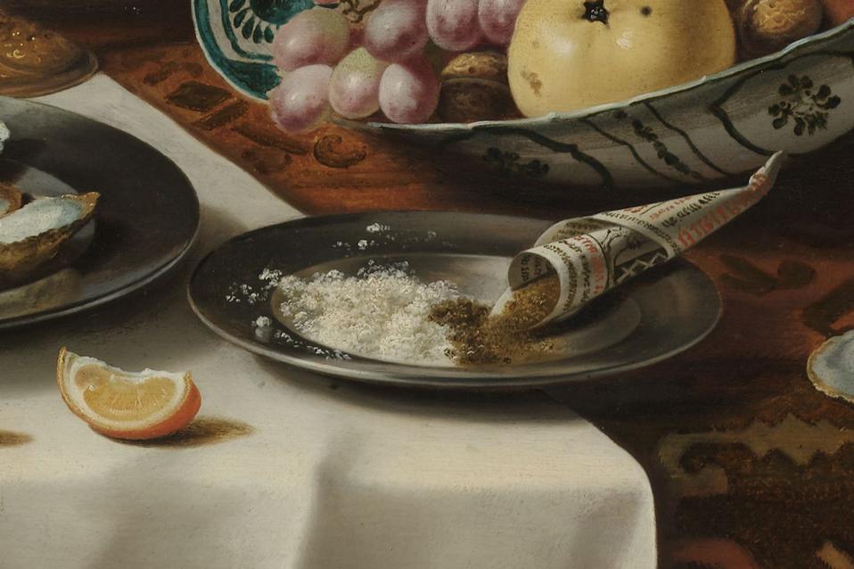Peper en zout op stilleven van Pieter Claesz, 1627, Rijksmuseum