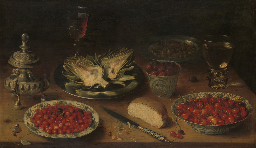 Stilleven met artisjok, fruit op porseleinen schalen, een zoutvat en een pepervat, Osias Beert (I), circa 1605-1615, Rijksmuseum