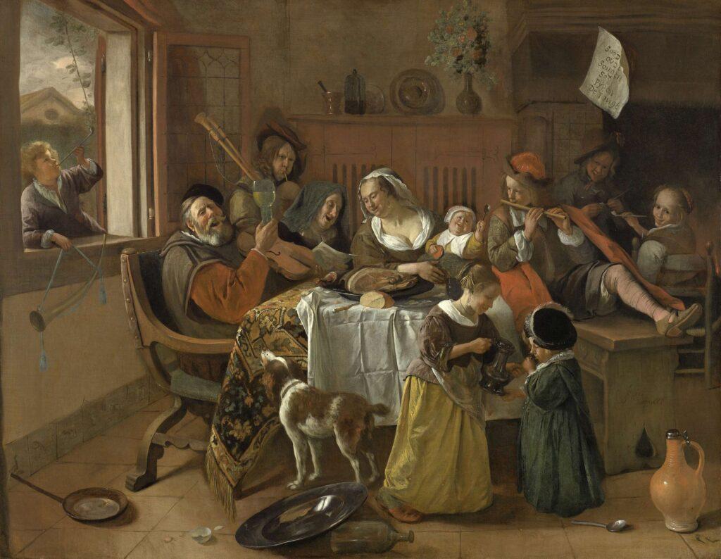 Het vrolijke huisgezin, Jan Havicksz. Steen, 1668