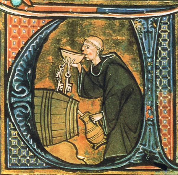 Monnik drinkt wijn in de middeleeuwen