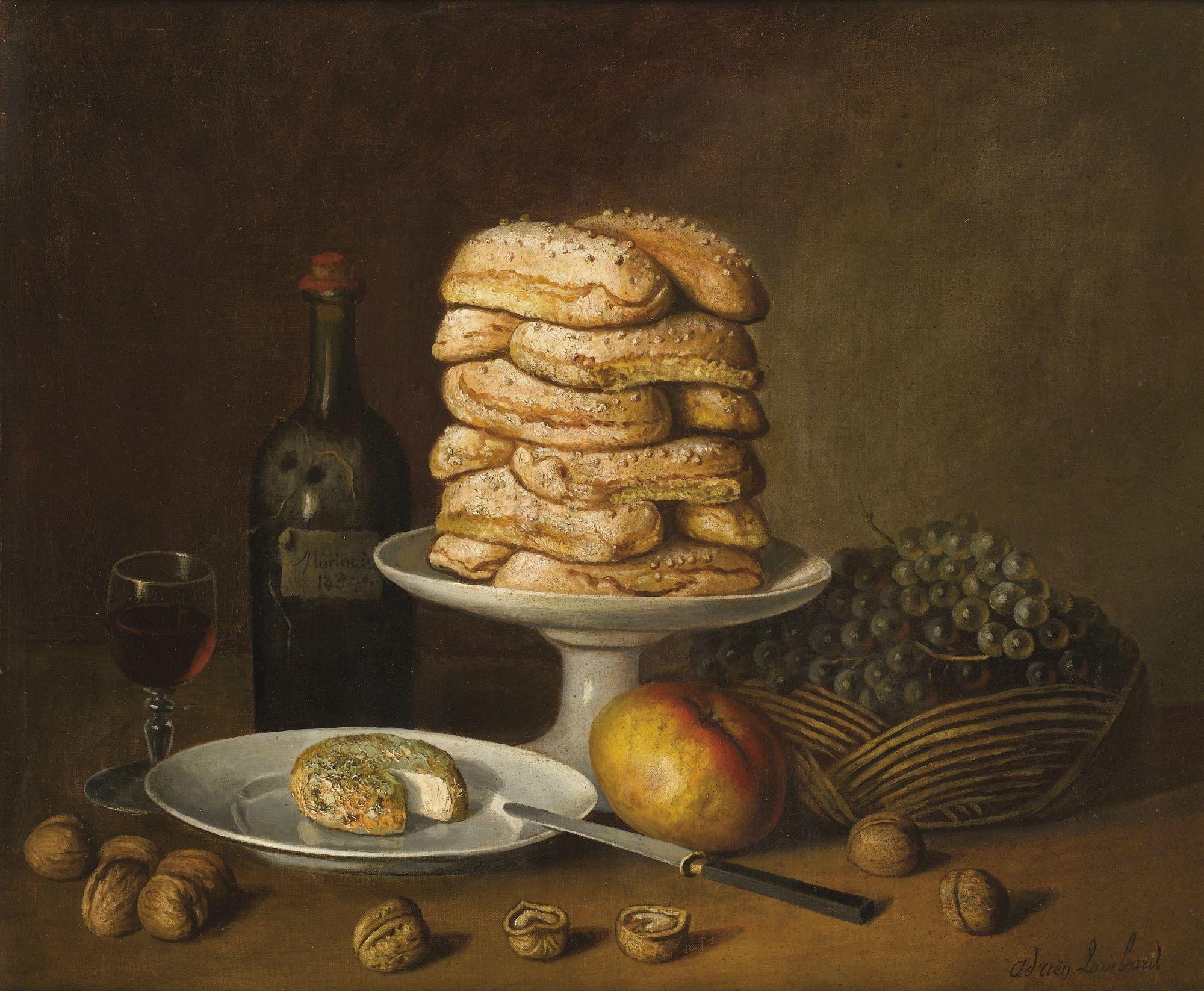 Stilleven met biscuit, Adrien Lombard, halverwege 19e eeuw, privécollectie
